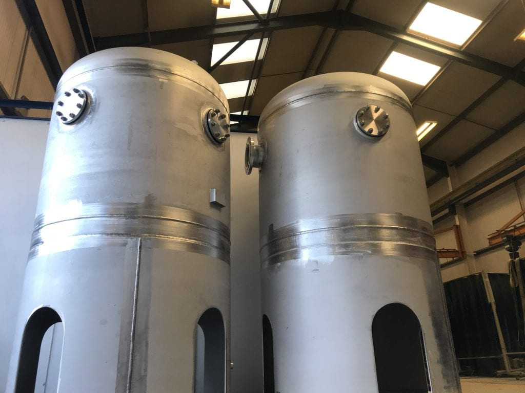 2 off Coolant Break Tanks for a Hydrogen Project - 2000 Litre volume made from Stainless Steel 304